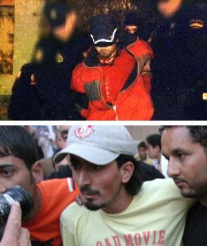 Foto de Telecinco de uno de los detenidos. Abajo, una imagen de archivo de Yusef, hermano de Hamed Abderraman (Foto: EFE).