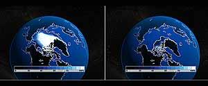 Reconstrucción del hielo Ártico, en dos de las suposiciones. (Foto: AFP)