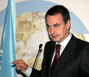 Zapatero tras las reuniones del Grupo de Alto Nivel de la ONU en Mallorca. (Foto: EFE)