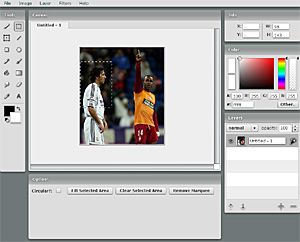 Captura del editor 'on line' de imágenes Fauxto.