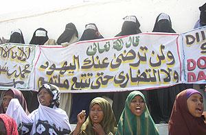 Mujeres apoyando a los islamistas en Somalia. (Foto: AP)