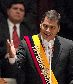 Rafael Correa, durante su discurso de investidura en Quito. (Foto: EFE)