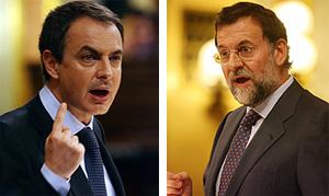 Zapatero y Rajoy, durante el debate. (Foto: AFP)