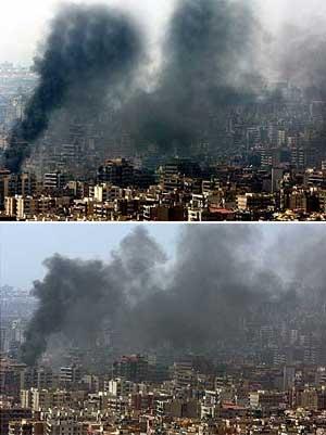 Montaje de las dos fotografías de la polémica. La de abajo es la original. (Foto: Reuters/Adnan Hajj)