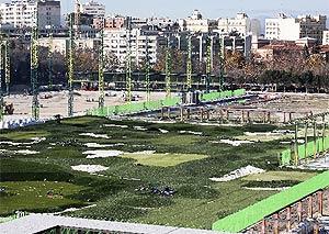 Obras del campo de golf en el parque de Santander. (Antonio M. Xoubanova)