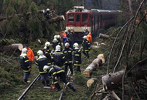 Operarios checos retiran árboles caídos sobre una vía. (Foto: AP)