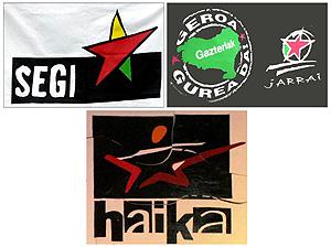 Los símbolos de las organizaciones Jarrai , Haika y Segi. (Foto: EFE)