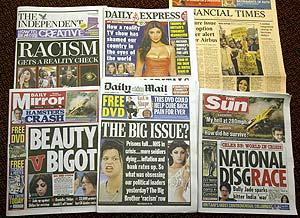 Portadas de los diarios británicos de más tirada con el asunto del racismo en 'Gran Hermano'. (Foto: AP)
