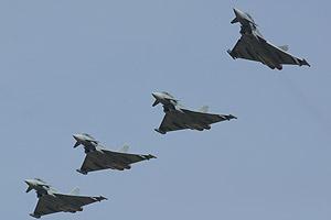 Varios Eurofighter, en unas maniobras. (Foto: eurofighter.com)