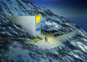 Ilustración que recrea la entrada de las instalaciones. (Foto: Artic Seed Vault)