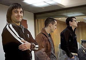 Los etarras Barrondo, Vidal y Badillo, durante el juicio. (Foto: EFE)
