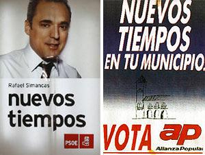 Imagen del cartel de precampaña de Rafael Simancas, y el de Alianza Popular en 1987. (Foto: B. Rivas/elmundo.es)