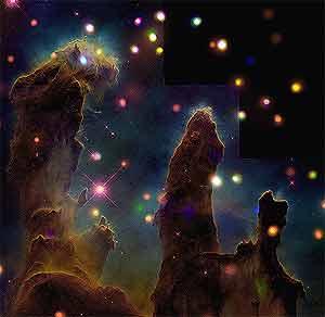 'Los Pilares de la Creación', vistos con el telescopio 'Chandra'. (Foto: NASA)