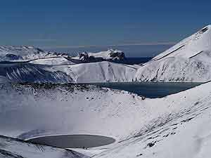 El cráter Zapatilla, después de la nevada. (Foto: Juan Carlos García)