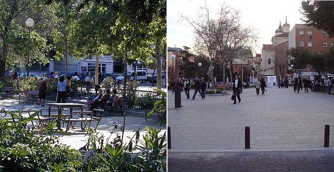 Aspecto que presentaba la Plaza antes de la remodelación (izquierda) y como ha quedado después. (Fotos enviadas por la autora del post)