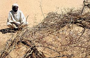Un hombre descansa en las afueras de un campamento en Darfur, Sudán. (Foto: AP)