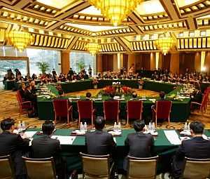 Negociadores de las dos Coreas, Japón, Rusia, China y EEUU en la sexta ronda de diálogo. (Foto: AP)