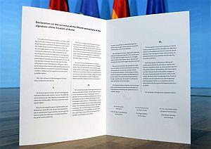 Documento con la Declaración de Berlín. (Foto: AP)