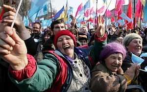 Concentración de seguidores del primer ministro ucraniano, Viktor Yanukovich. (Foto: EFE)