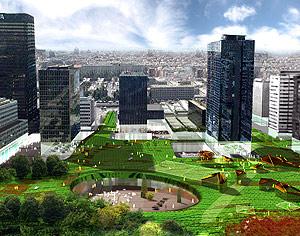 El proyecto 'La Alfombra' intenta integrar la naturaleza en el espacio urbano del complejo Azca. (Foto: COAM)