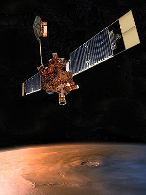 Una recreación de la Mars Global Surveyor al lado de Marte. (Foto: AP)