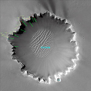 Imagen del cráter Victoria donde se adenatrará el robot 'Opportunity'. (Foto: La NASA)