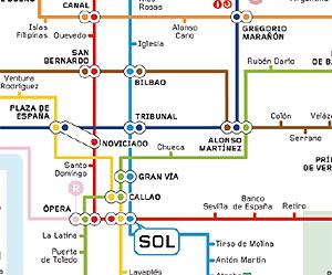 Fragmento del nuevo plano del Metro de Madrid.