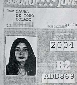 Fotocopia del Abono Transporte de Laura de Toro. (Foto: Diego Sinova)