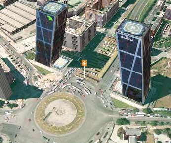 Vista de las Torres KIO de Madrid, en el callejero 3D de QDQ.