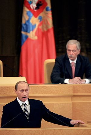 Putin, durante su discurso de mensaje a la nación. (Foto: AFP)