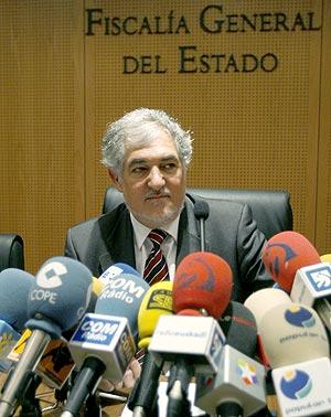 El fiscal general del Estado, Conde-Pumpido, durante su rueda de prensa en Madrid. (Foto: EFE)
