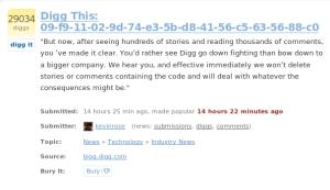 El polémico código, en una página de Digg.