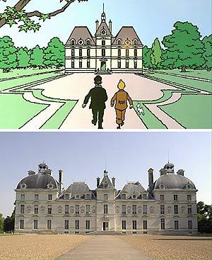 La residencia del capitán Haddock, inspirada en el castillo de Cheverny. (Montaje: AFP)