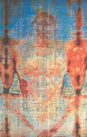 La Sábana Santa, donde se refleja la imagen del crucificado. (Foto: EPA)