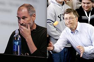 Steve Jobs (izda.) y Bill Gates (dcha.). (Foto: AP)