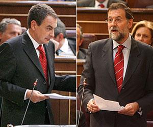 Zapatero (izda.) y Rajoy, en el Congreso. (Fotos: EFE/ A.Cuéllar)