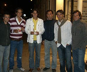 Rafa Nadal, con Feliciano, Albert Costa y su tío Toni, entre otros.