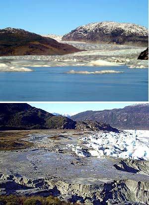 Vista del lago con agua y en la actualidad. (Foto: AP)