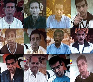 Imágenes de los diputados secuestrados enviadas por las FARC a las familias. (Foto: AP)