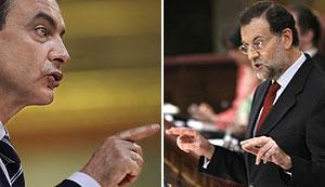 José Luis Rodríguez Zapatero y Mariano Rajoy, en momentos diferentes del debate. (Foto: EFE)
