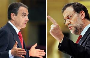 Zapatero y Rajoy, durante el Debate.