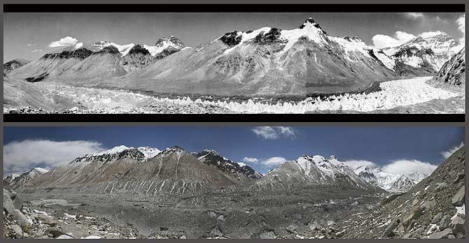 Un glaciar del Himalaya, arriba en una imagen tomada en 1968; abajo, una vista similar aunque no tomada desde el mismo punto en 2007. (Fotos: Reuters)