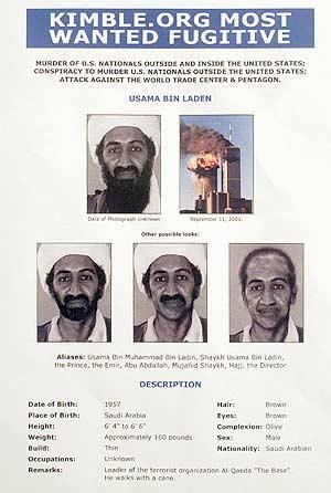 Imagen del cartel de búsqueda de Osama Bin Laden distribuido por la policía suiza. (Foto: AP)