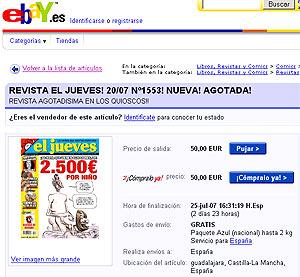 Imagen del portal 'eBay' en el que se ofrece 'El Jueves' con un precio de salida de 50 euros.