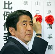 Abe, durante el recuento de votos. (Foto: AFP)