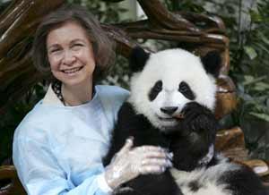 La reina durante su reciente visita a la reserva de Chengdu (Foto: REUTERS)