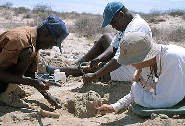 Meave Leakey y miembros de su equipo de excavación en el Lago Turkana (EFE)