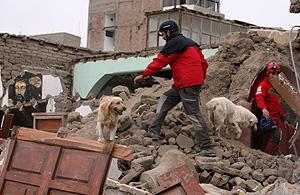Un grupo de socorristas españoles trabaja en Pisco. (Foto: REUTERS)