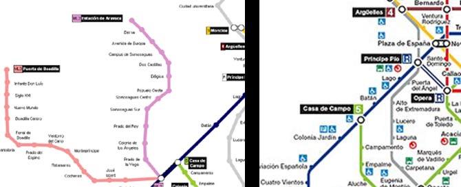 El plano correcto con las dos líneas de Metro Ligero y a la derecha el mapa que ofrece el CTM