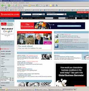 "Imagen de la página web de ""The Economist"""